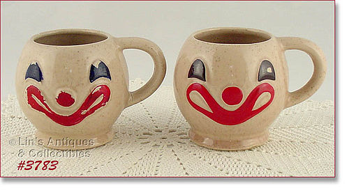 McCoy Pottery Clown Face Mugs