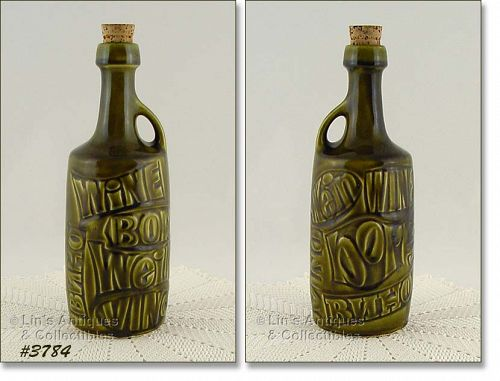 McCOY POTTERY RARE GREEN WINE BOTTLE
