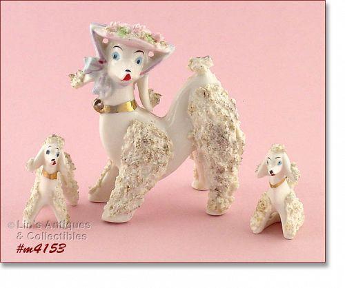 Vintage Poodle Family Figurines White Spaghetti Poodles