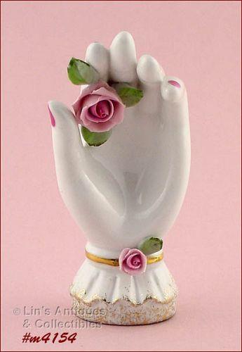 Vintage Lefton Pink Roses Hand Shaped Vanity Dish
