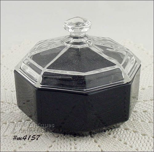 GLASS VANITY POWDER JAR MADE IN FRANCE