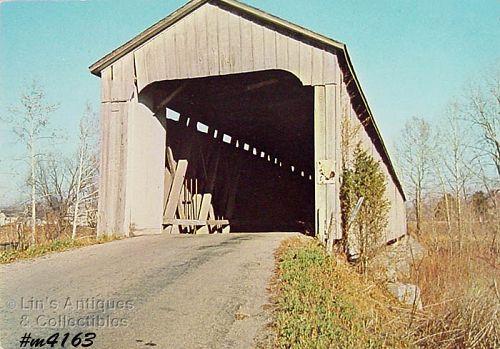 Vintage Covered Bridge Postcard Eastern Indiana