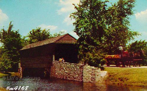 Vintage Postcard Covered Bridge Dearborn Michigan