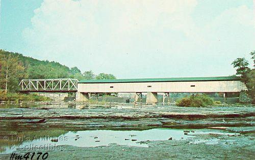 Vintage Postcard Covered Bridge Harpersfield Ohio