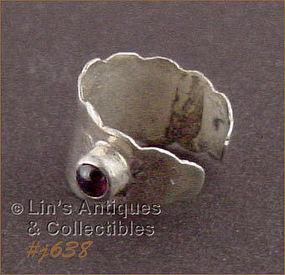 Silver Ear Cuff Earring with Amethyst