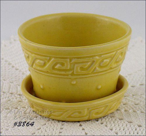 McCoy Pottery Yellow Greek Key Flowerpot
