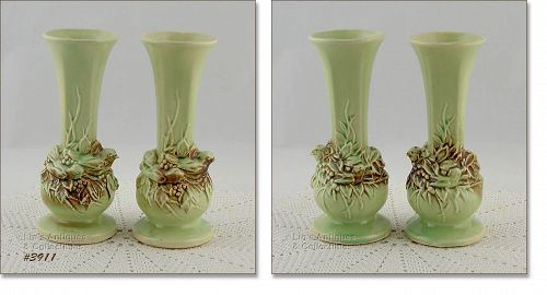 McCOY POTTERY PAIR OF RUSTIC COLOR VINTAGE BUD VASES