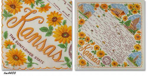 State Souvenir Hanky Kansas The Sunflower State