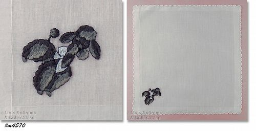 VINTAGE WHITE HANKY WITH EMBROIDERED BLACK AND GRAY POODLE