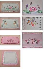 4 Embroidered or Cross Stitched Vintage Dresser Scarves / Doilies