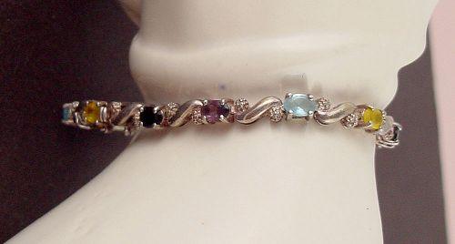 Gemstones and Diamond Accents Silver Bracelet