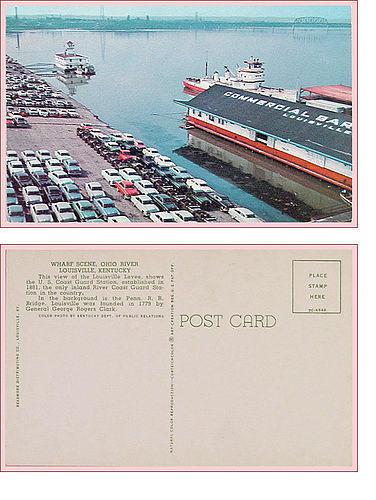 Ohio River Wharf Scene Louisville KY Postcard