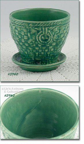 McCoy Pottery Basketweave Flowerpot Made in 1932