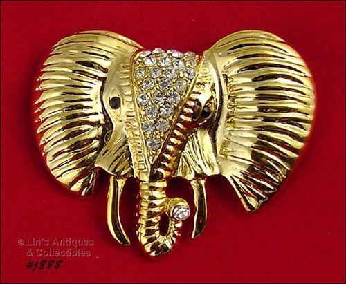 Eisenberg Ice Signed Elephant Head Pin