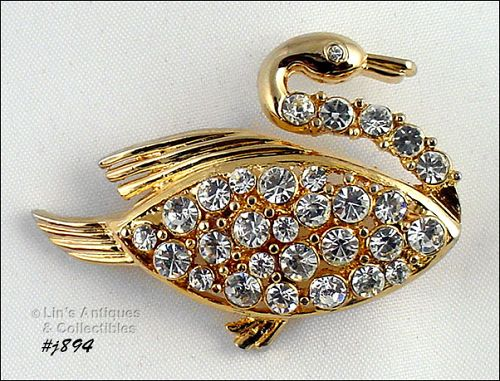 Signed Eisenberg Ice Swan a Swimming Pin Gold Tone