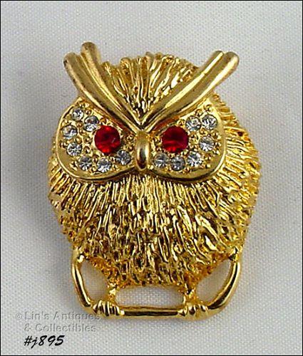 Eisenberg Ice Signed Owl Pin Gold Tone