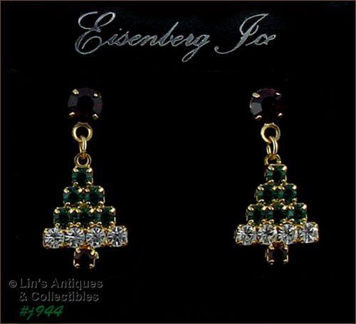 Eisenberg Ice Christmas Tree Pierced Earrings