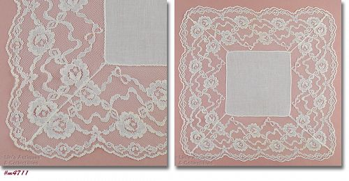 Vintage Wedding Hanky with 4 Inch Lace Edging