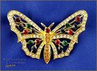 Eisenberg Ice Signed Butterfly Pin Gold Tone