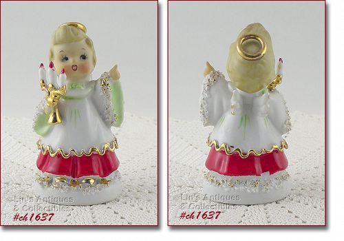 LEFTON SPAGHETTI CHRISTMAS ANGEL VINTAGE FIGURINE HOLDING CANDELABRA