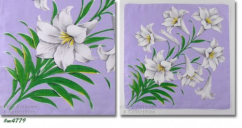 WHITE TIGER LILIES VINTAGE HANDKERCHIEF EASTER HANKY