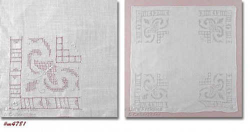 VINTAGE WHITE HANDKERCHIEF WITH BUTTERFLY CORNERS