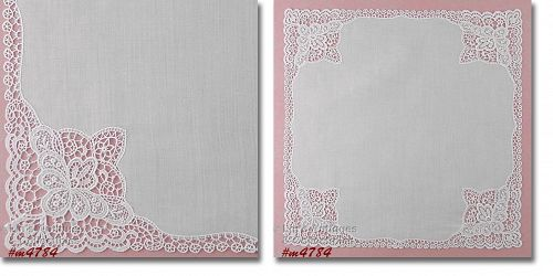 Vintage White Wedding Hanky with Lace Edging
