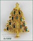 EISENBERG ICE GOLD TONE CHRISTMAS TREE PIN WITH GREEN CANDLES