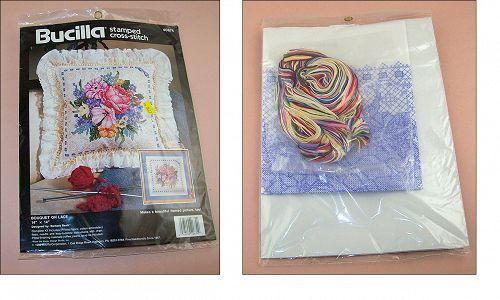 Bucilla Cross Stitch Kit Bouquet on Lace