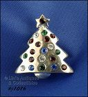 Signed Eisenberg Ice Stubby Christmas Tree Pin Silver Tone