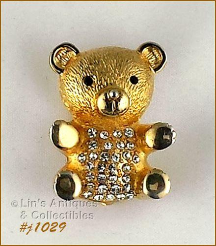 Eisenberg Ice Signed Teddy Bear Pin Gold Tone