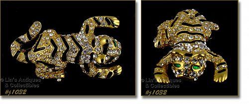 Eisenberg Ice Baby Tiger Pin Rhinestones Black Enameling Gold Tone