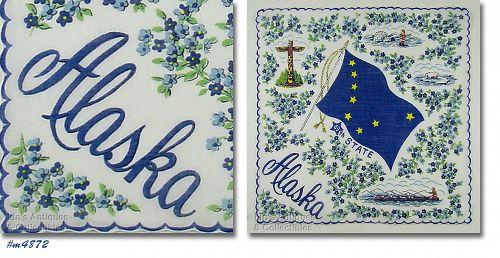 Vintage State Souvenir Hanky Alaska