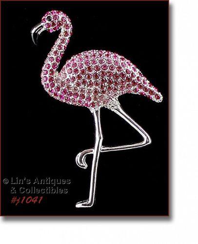 Signed Eisenberg Ice Pink Rhinestones Flamingo Pin Silver Tone Legs