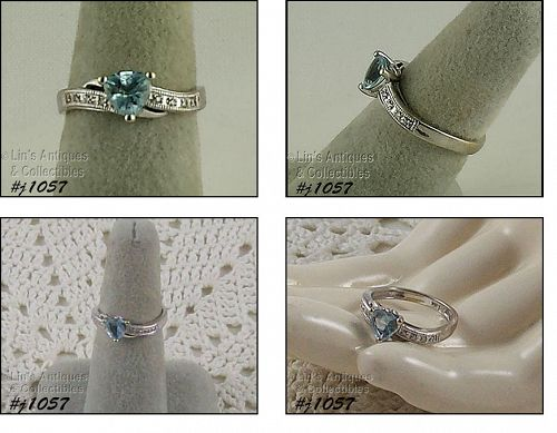 10k White Gold Ring Blue Topaz and Diamond Accents Size 6 1/2