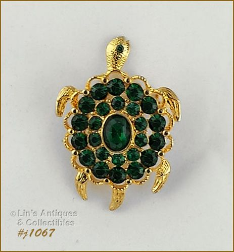 Signed Eisenberg Ice Turtle Pin with Emerald Green Rhinestones