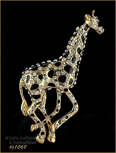 Signed Eisenberg Ice Giraffe Pin Brooch