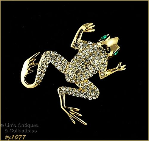 Eisenberg Ice Signed Leaping Frog Pin Clear Green Rhinestone Gold Tone