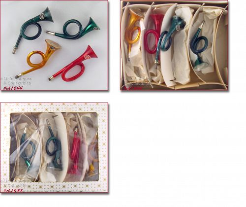 Vintage Western Germany Christmas Ornaments Musical Horn Shapes