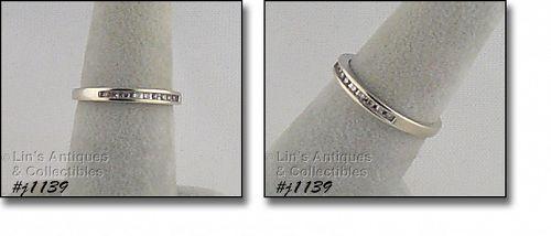 Vintage 10k White Gold Diamond Wedding Band Size 7