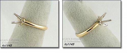 10k Yellow Gold Solitaire Ring Mount Size 4 1/2