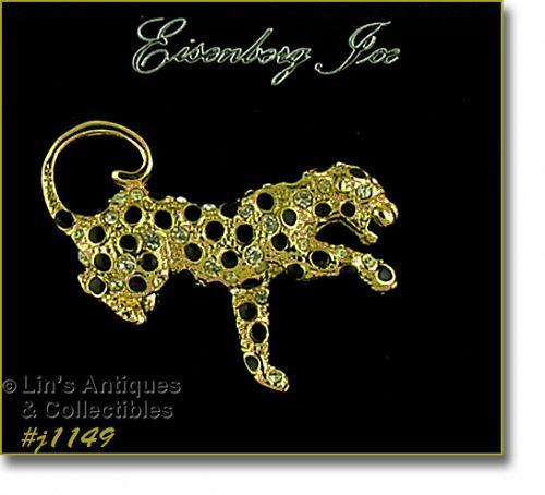 Eisenberg Ice Leopard Pin Black Enamel Rhinestones Gold Tone