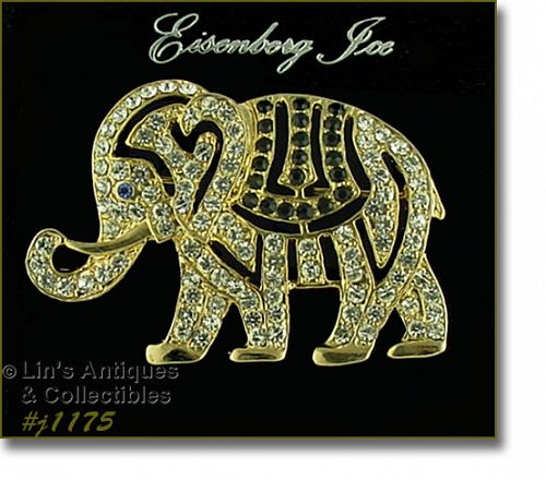 Eisenberg Ice Circus Elephant Brooch Rhinestone Covered