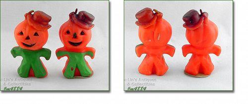 Vintage Gurley Candles Halloween Pumpkin Head Scarecrows