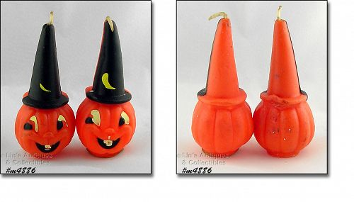 Vintage Gurley Candles Jack O Lanterns in Wizard Hats