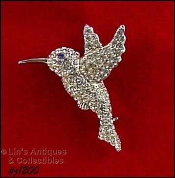 Signed Eisenberg Ice Hummingbird Pin Clear Rhinestones Silver Tone
