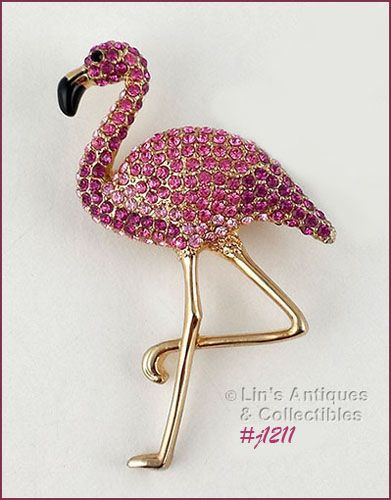 Eisenberg Ice Flamingo Pin Pink Rhinestones with Gold Tone Legs
