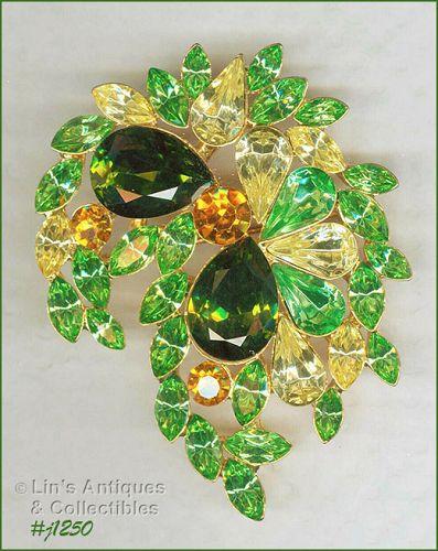 Signed Eisenberg Rhinestone Brooch Shades of Green and Yellow