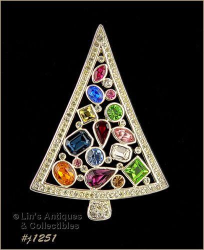 Eisenberg Ice Signed Christmas Tree Pin Multi Color Rhinestones
