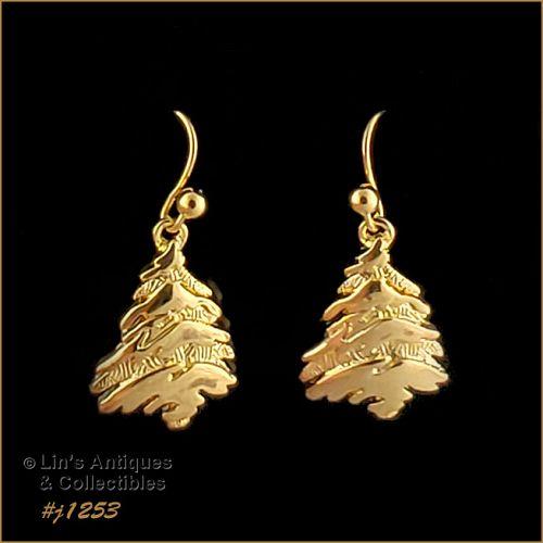 Signed Eisenberg Ice Christmas Tree Earrings Gold Tone